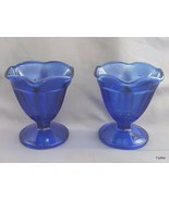 Anchor Hocking Fountainware Cobalt Footed Low Sherbet Sundae Dishes Pair... - $6.34