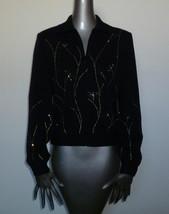ST. JOHN Black Jacket Jeweled Knit Gold Blue LS Embellished 4 - $173.24