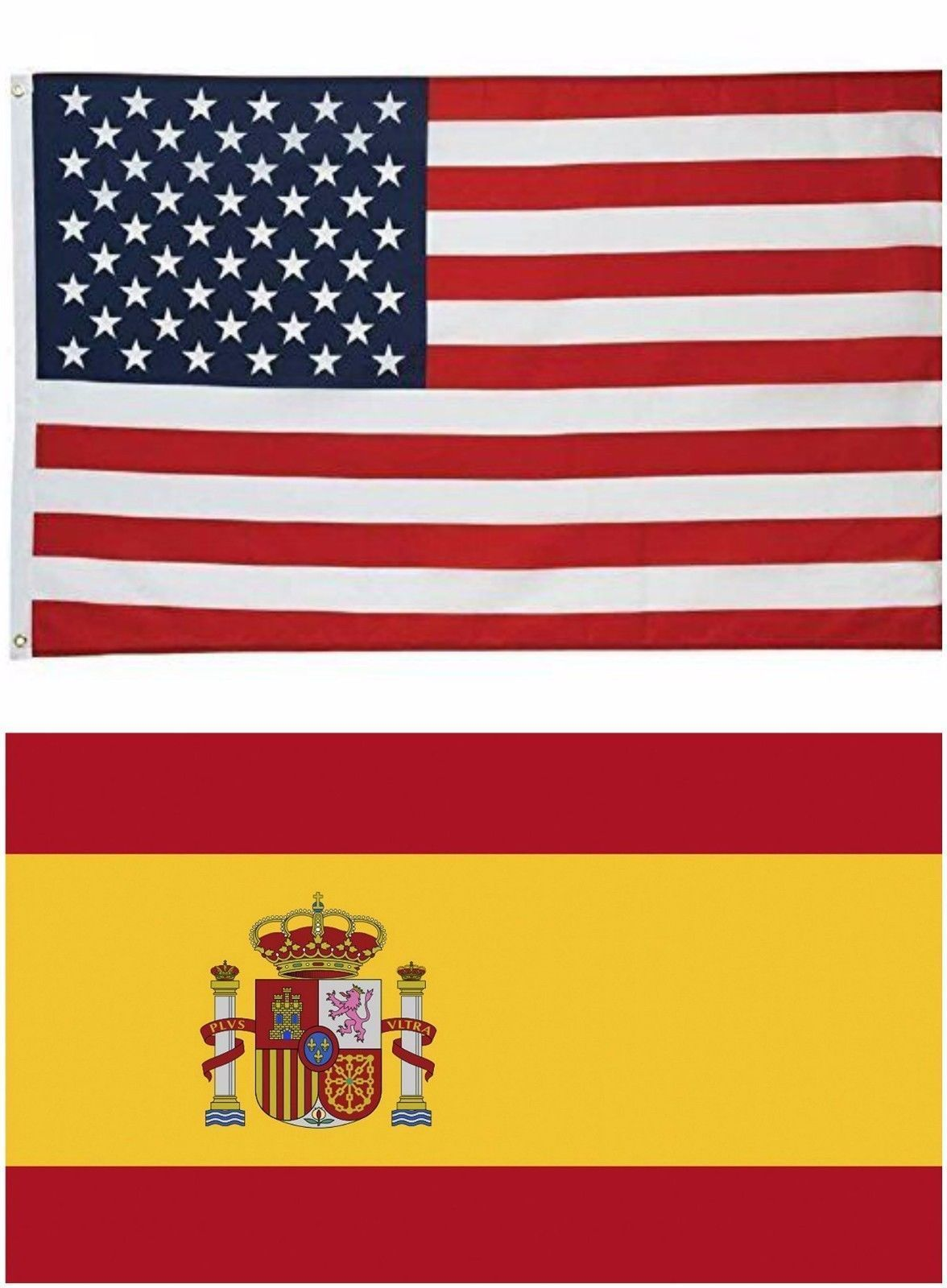Wholesale LOT 3'x5' USA AMERICAN & 3'x5' Spanish flag the Spain National Flag