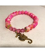 Pink and Gold Seahorse Bracelet  - $6.30