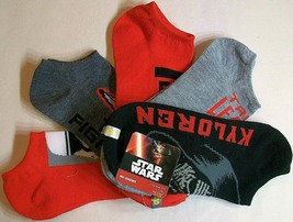5 Pair Star Wars Kylo Ren Stormtrooper Boy Black Red No Show Ankle Socks... - $9.33