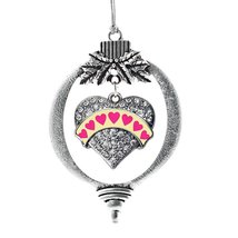 Inspired Silver Yellow Candy Pave Heart Holiday Ornament - $14.69