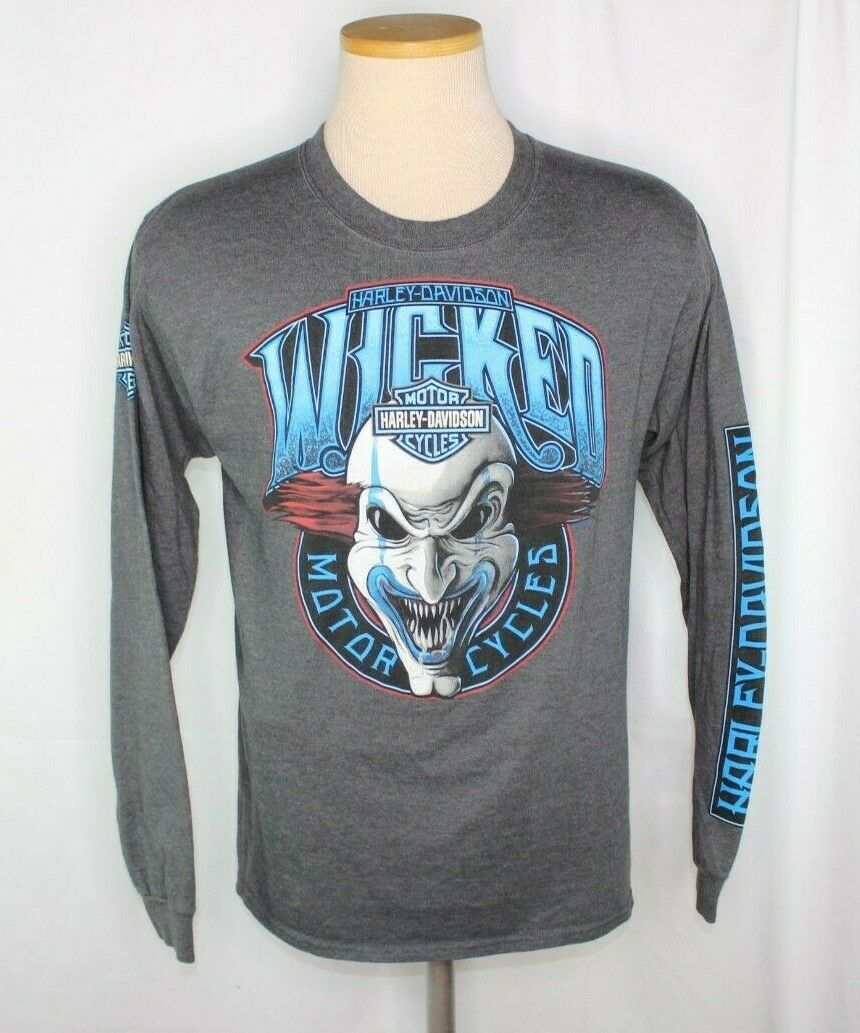 Primary image for Harley Davidson Wicked Myrtle Beach Motorcycles Clown Gray LS Sz M