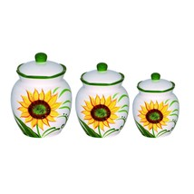 Sunflower Design Deluxe 3-piece Canister Set - $54.59