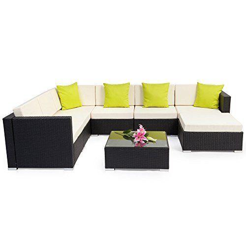 Contemporary Garden Wicker Sofa & Table Outdoor Furniture Set Luxury Corner Set image 3