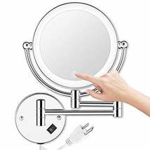 AMZNEVO Wall Mounted Makeup Mirror LED Lighted Touch Button Stepless Adj... - $50.99
