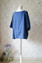 PLUS SIZE linen tunic Over-sized Blue tunics Summer Natural linen clothing NWT image 2