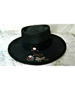Vintage~P~Golf Black Embroiered Straw Hat~Made USA~Stretch Fitted One Size - $18.69