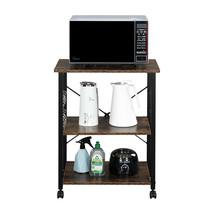 3-Tiers Black Portable Kitchen Cart organizer Rack shelf microwave oven ... - $56.62