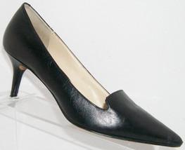 Nine West 'Mafalda' black leather pointed toe slip on loafer heels 7M - €26,36 EUR