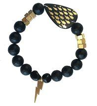 Electric Picks Gold Glimmer Thunder Bolt and Nuts Hardware Black Onyx Bracelet image 3