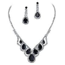 Fashion Jewelry Black Droplets Rhinestone Prom Necklace Set - $46.03