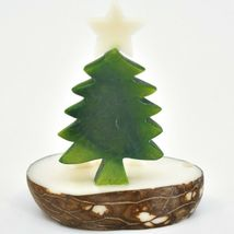 Hand Carved Tagua Nut Carving Nativity Scene Figurine with Green Christmas Tree image 3
