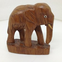 Vintage Hand Carved Wood Miniature Elephant Figurine Rustic Folk Art 3 inch - $9.65