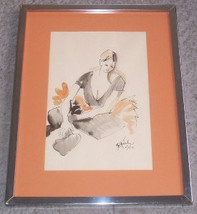 Rare Signed 1971 SUSIE GACH PEELLE Original Portrait Watercolor Painting - $1,099.99