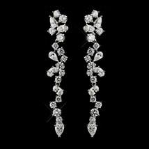 Dangle Earrings #2654 Antique Silver Clear CZ Crystal - $35.99