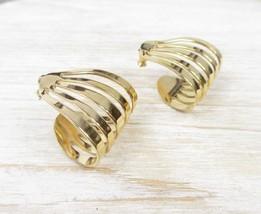 Vintage Modern Jewelry Designer Signed MONET Open Swirl Rib Hoops Pierced  Earri - $31.90