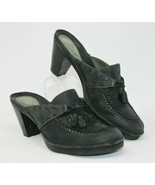 Clarks Size 9.5 M Black Suede Leather Loafers Slip On Mules Flowers Tassel - $24.22
