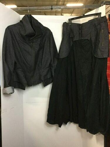 Ivan Grundahl Denim Black Jacket Long Skirt Sz 44 Copenhagen Barneys New York