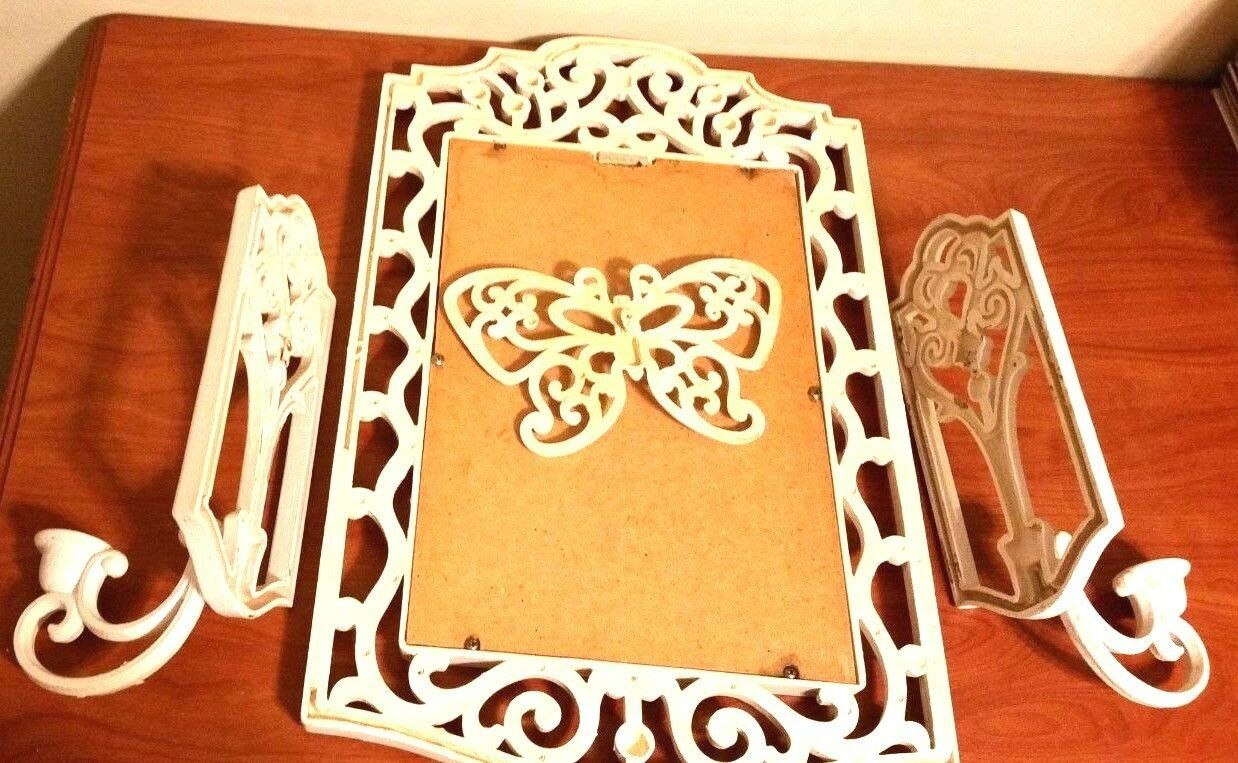 Vintage 80s White Home Interiors Homeco Candle Sconces Mirror Butterfly Set 4