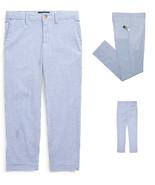 Ralph Lauren Boys  Skinny Fit Stretch Blue Seersucker Pants,12 - $24.74