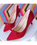 89h196 elegant bowout pump with kitten heel, Size 5-9, red - $42.80