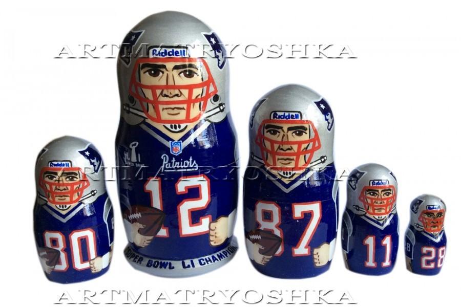 "New England Patriots nesting doll matryoshka doll, babushka doll 5 pc, 6"""