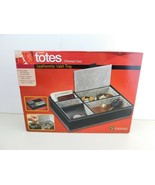 Totes Leatherette Valet Tray Black Faux Leather 5 Compartments - $14.84
