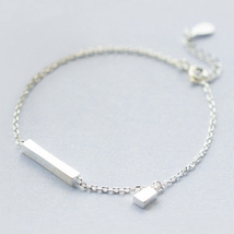 Wiredrawing cube 925 sterling silver chain brac... - $47.86