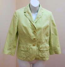 Ann Taylor Petites 8P Jacket Green Blazer Embossed Floral Textured Career - $23.50