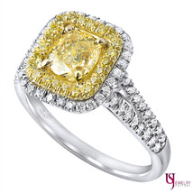 1.59 Ct Cushion Cut Yellow Diamond Engagement Halo Ring Split Shank 18k ... - €2.745,01 EUR