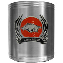 arkansas razorbacks flame logo ncaa emblem color steel can cooler usa made - $18.04