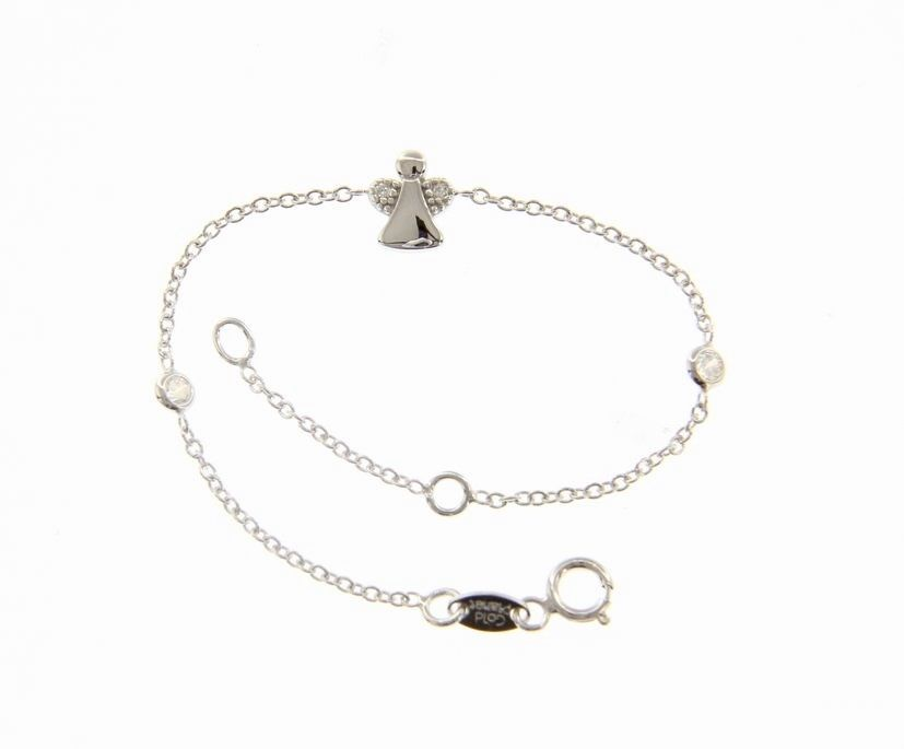 18 KT WHITE GOLD BRACELET FOR KIDS WITH ANGEL AND CUBIC ZIRCONIA  MADE IN ITALY