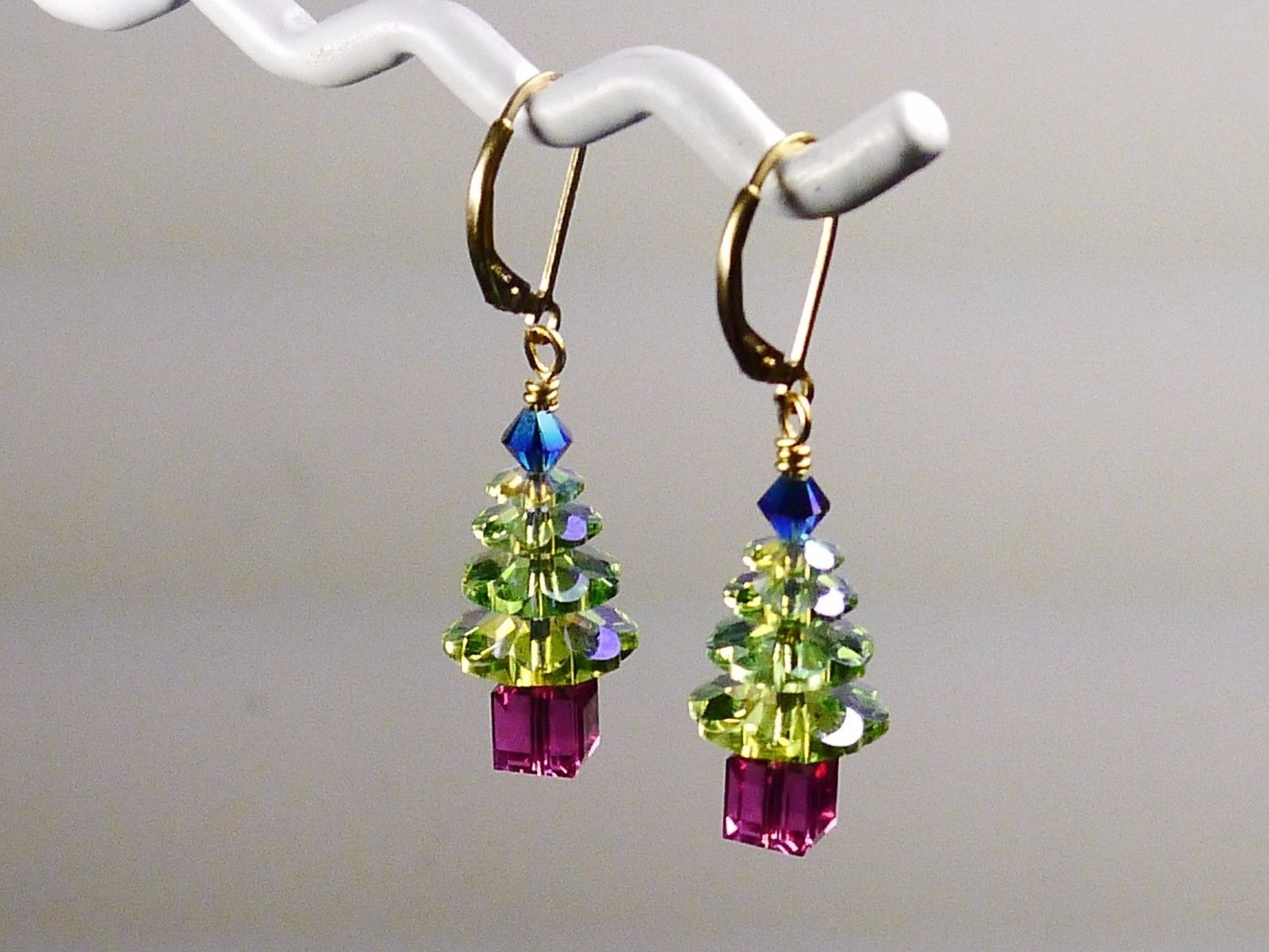 Christmas Tree Holiday Earrings/ 1 OF A KIND /made w/Swarovski Crystals/14k Gold image 2
