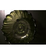 Vintage Large Round Green Indiana Glass Bowl  with 3 feet Heavy Unique G... - $79.19