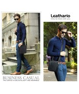 Leathario Bag Man Shoulder Bag Leather Authentic Fashion Business Negro-695 - $235.13