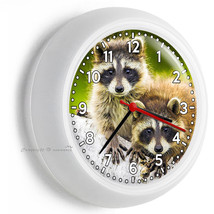 CUTE LITTLE COONS RACCOONS WILD ANIMALS TIME WALL CLOCK ROOM HOME HOUSE ... - $23.37