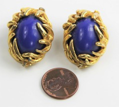 VINTAGE ESTATE Jewelry HIGH END ALEXIS KIRK RUNWAY CABOCHON CLIP EARRINGS - $55.00