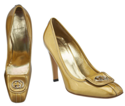 GUCCI GG Gold Logo High Heel Shoes Womens Pumps 9 1/2B - $410.00