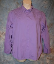 Womens Purple Jones New York Long Sleeve Shirt Size XL very good - $6.92