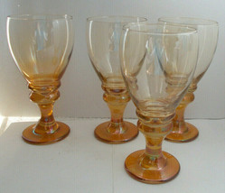 Vintage Hand Blown Amber Wine Glasses 4 Pack Chunky Stems  Iridescent Glass - $54.44