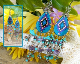 Vintage Southwest Pendleton Pattern Tribal Dangle Earrings Handcrafted - $17.95