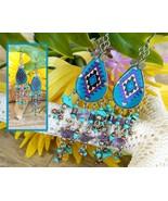 Vintage Southwest Pendleton Pattern Tribal Dangle Earrings Handcrafted - $17.95