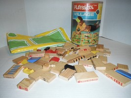 Vintage 1973 Playskool Village Wooden Blocks Plastic Road Mat 50 Pcs + Canister - $27.58