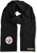 "Pittsburgh Steelers NFL Unisex Jimmy Bean 4-in-1 Beanie Scarf 82 x 8"" Black - $29.69"