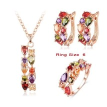 LZESHINE New Top  Rose Gold Color Flower Jewelry Set Multicolor Cubic Zi... - $17.77