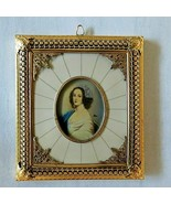 Antique Hand Painted Gold Celuloid Frame Ormolu French 1800s Woman Mini ... - $593.99