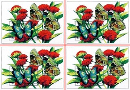 $$ wholesale $$ TURKS & CAICOS 1994 BUTTERFLIES on FLOWERS x4 S/S MNH IN... - $4.75