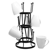 Stylish Steel Mug Tree Holder Organizer Rack Stand Black - $24.47