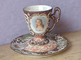 Antique Japan hand painted moriage cameo demi demitasse tea cup teacup saucer - $58.41